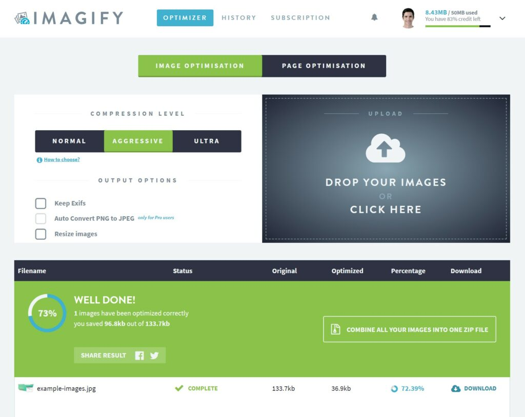 Imagify - Compression example