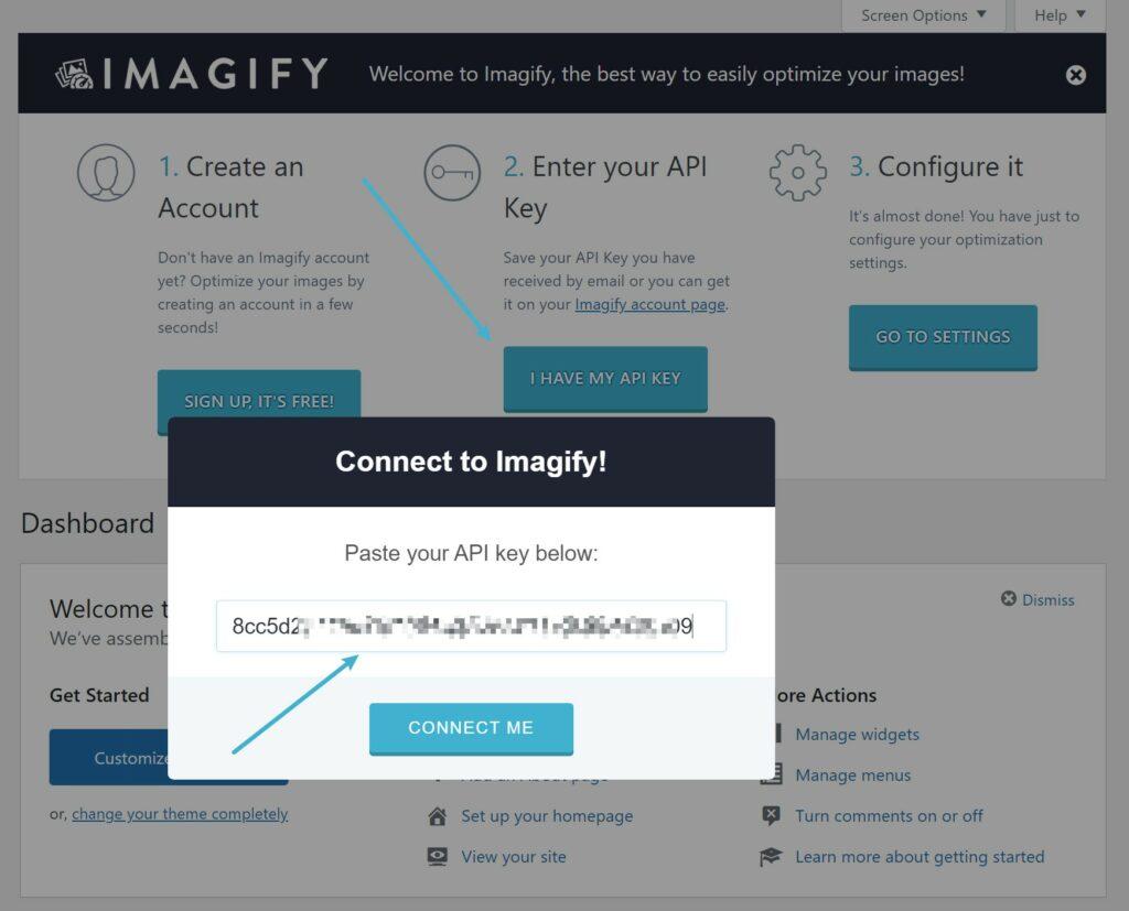 Connect API key - Imagify
