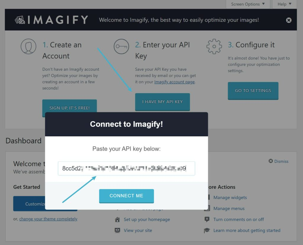 Install Imagify and past your API key