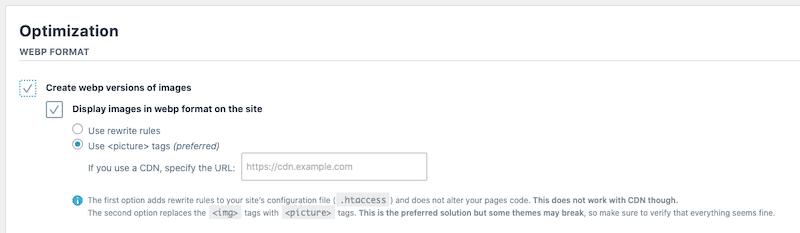 Webp format conversion - Imagify dashboard