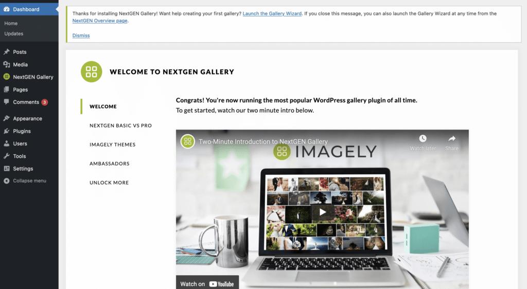 NextGEN Gallery Overview screen: