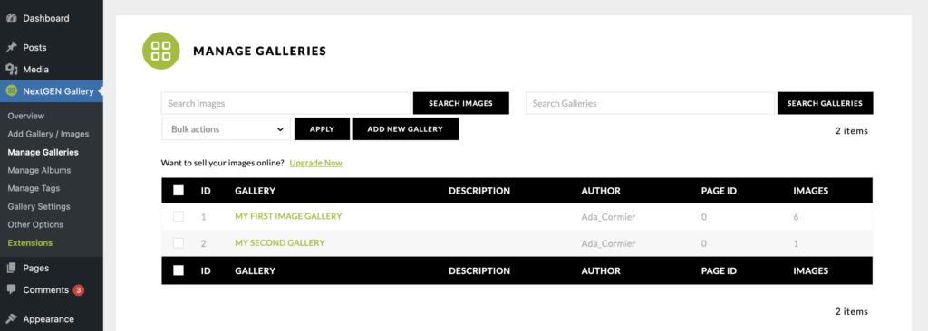 Manage Galleries - NextGEN Gallery