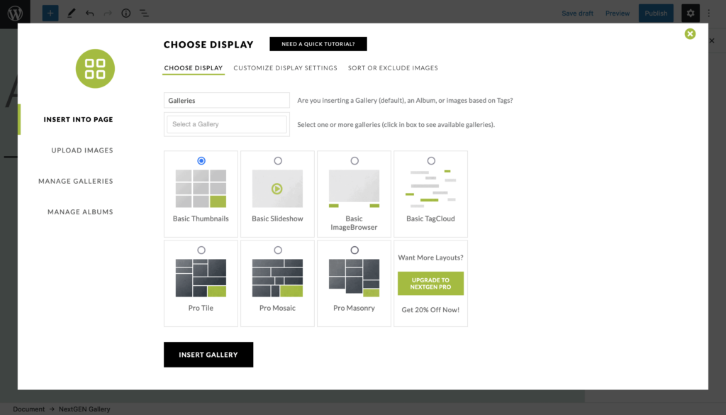 NextGEN customization options