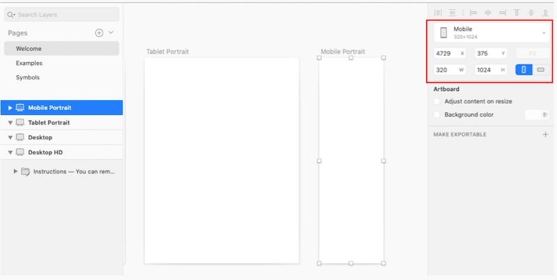 Designing on mobile - Source: Sketch templates