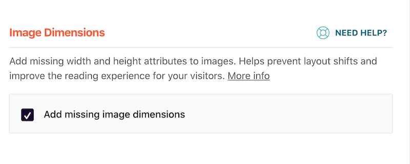 Adding missing dimensions in the Media tab - Source: WP Rocket