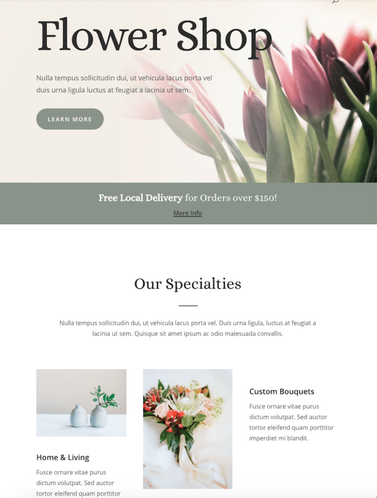 Extract of my website built with Divi (Total: 10 images)