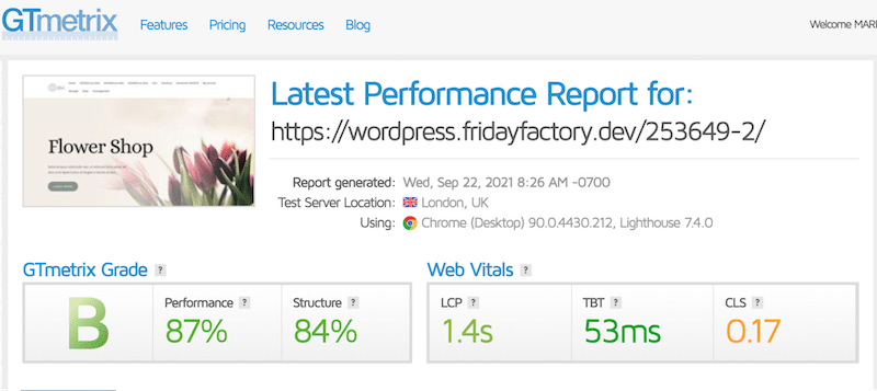 Performance audit without Imagify - Source: GTmetrix