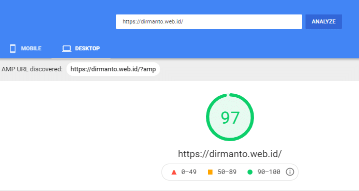PageSpeed Insights score from desktop