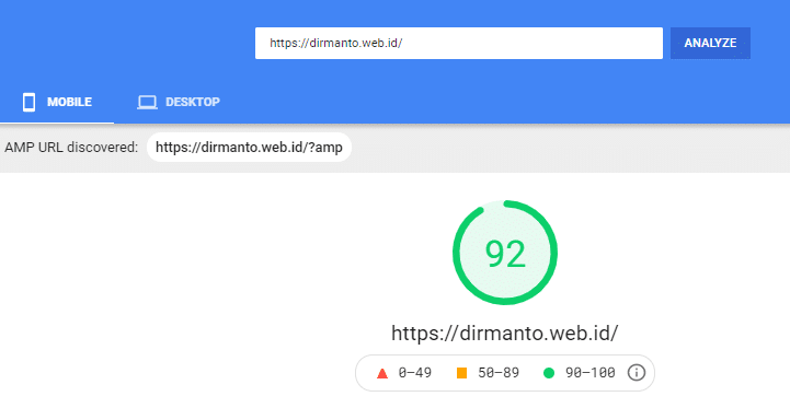 PageSpeed Insights score from mobile